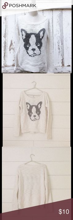 "White & Gray Dog Face Sweater Adorable, white & grey dog face sweater. 95% acrylic 5% wool. Size: M, Total length: approx. 23"" Underarm to underarm: approx. 18"" Good but used condition. Some pilling. Great statement piece and very warm!! Aeropostale Sweaters Crew & Scoop Necks"