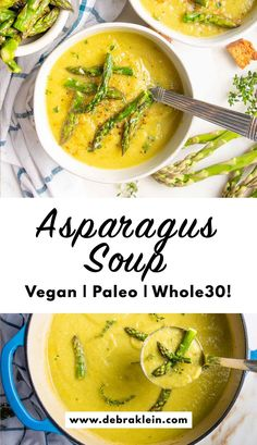 Healthy asparagus soup is dairy-free and delicious. Creamy vegan soup bulks up using cauliflower and parsnips for a thick and satisfying gluten-free blended soup. Asparagus Soup Vegan, Creamy Asparagus, Vegan Soup, Easy Meal Prep, Easy Meals, Pureed Soup, Dairy Free Eggs, Food Print, Soup Recipes