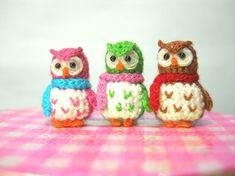 Three Micro Mini Owls Tiny Amigurumi Crochet Miniature by SuAmi