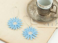 Daisy Lace Earrings - Crochet Lace Blue Daisy -  Boho Chic - Lightweight - Flower Doily - Hoop - Dangle - Fiber Art Jewelry - Bohemian