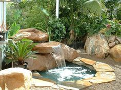Backyard Water Feature Fountain | that the outdoor rock fountains add a beauty and charm to your garden ...