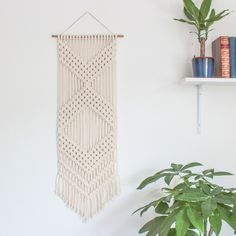 Macrame Wall Hanging > CHEVRONS > Ecru Recycled Cotton Cord with Bamboo by ButtermilkDesignCo on Etsy https://www.etsy.com/listing/220778998/macrame-wall-hanging-chevrons-ecru