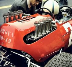 John Surtees and Mauro Forghieri . Ferrari 158 .F11964.