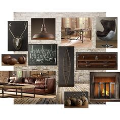 Weathered Man Cave, created by #laceyja28 on #polyvore. interior design