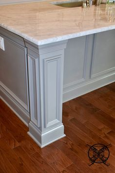 Want to Upgrade Your Kitchen Island? This is a super quick, inexpensive, easy weekend project, that provides a lot of character to an otherwise basic kitchen island by adding picture frame molding. In other words, you will get a lot of bang for you buck. Kitchen Island End Panels, Kitchen Island Molding, Kitchen Island Ends, Kitchen Island Upgrade, Kitchen Island Makeover, Best Kitchen Cabinets, Painting Kitchen Cabinets, Kitchen Islands, Curved Kitchen Island