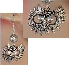 Silver Owl Dangle Earrings Handmade Jewelry Women Accessories Fashion #Handmade #DropDangle