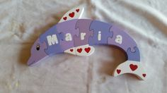 Dolphin name puzzle wooden handcrafted by WoodnThingsNY12534