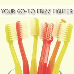 Tame frizz with a toothbrush. Spray a toothbrush with your favorite product, and smooth away.  |  Beauty Tricks