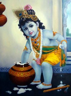 Buy Paintings Online by Artist Dilip Kadam - Bal Krishna - Baby Krishna, Krishna Lila, Little Krishna, Krishna Hindu, Jai Shree Krishna, Cute Krishna, Radha Krishna Images, Lord Krishna Images, Krishna Photos