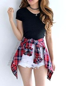 Flannel outfits summer, red flannel outfit, cute casual outfits for teens, white shorts Teenage Girl Outfits, Cute Teen Outfits, Teen Fashion Outfits, Mode Outfits, Cute Fashion, Look Fashion, Trendy Outfits, Fall Outfits, Flannel Outfits Summer