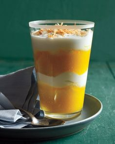 Fill tumblers with mango puree, Greek yogurt, and toasted coconut for a sweet -- and cheerful -- Mother's Day treat.