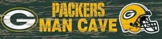Green Bay Packers Man Cave Plaque 6 x 24 Wooden Wall Sign