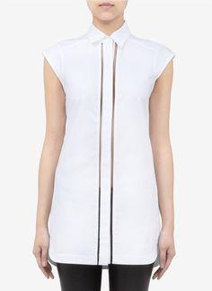 Alexander Wang Fishnetpanel Cottonblend Shirt - Lyst