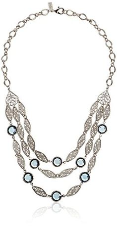 1928 Jewelry SilverTone Filigree Strand Necklace with Blue Swarovski Crystals  18 * Click image for more details.