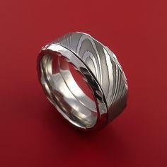 Damascus Steel in Cobalt Chrome Wedding Band Custom Made - Stonebrook Jewelry  - 1