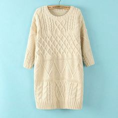 Cheap New Twist Collapse Shoulder Loose Sweater&Cardigan For Big Sale!New Twist Collapse Shoulder Loose Sweater&Cardigan Cable Knit Sweater Dress, Cotton Sweater, Cable Knit Sweaters, Long Sweaters, Long Sleeve Sweater, Knit Dress, Pullover Sweaters, Loose Sweater, Cheap Sweaters