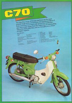 Had a honda 50 like this In lime green Vintage Honda Motorcycles, Small Motorcycles, Touring Motorcycles, Old Advertisements, Retro Advertising, Retro Ads, Vintage Ads, Honda Scooters, Motor Scooters