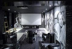 Themed home theatre with timeless large format images of timeless actors and actress adorning the walls Best Home Theater, At Home Movie Theater, Home Theater Rooms, Home Theater Design, Cinema Room, Decoracion Vintage Chic, Home Movies, Entertainment Room, Building A House