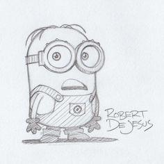 Minion Despicable Me by Banzchan on DeviantArt Cartoon Drawing Tutorial, Cartoon Girl Drawing, Cartoon Sketches, Drawing Sketches, Minion Sketch, Minion Drawing, Disney Character Drawings, Disney Drawings, Drawing Disney