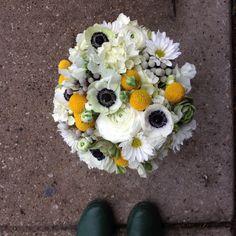 Black eye anemone bouquet with billy balls