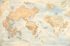 Nina Katchadourian, re-invents the maps of the world by cutting old maps apart, and reassembling them.