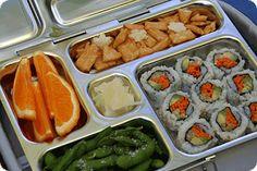 sushi rolls, edamame, rice crackers