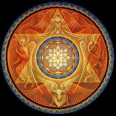 Mandala East to West Visionary Painting by Brigid Marlin Ange Demon, Visionary Art, Sacred Art, Sacred Symbols, Flower Of Life, Tantra, Yin Yang, Fractal Art, Sacred Geometry