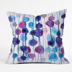 CMYKaren Abstract Watercolor Throw Pillow