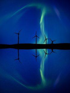Wind Farm And Northern Lights Aurora Borealis Canada