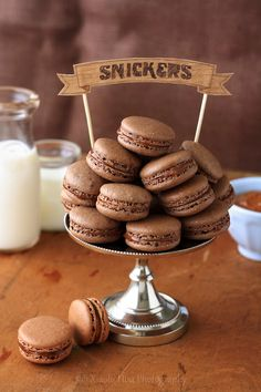 Snickers Macarons. #food #chocolate #macarons