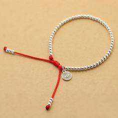 銀飾今生s925紅繩純銀珠手鏈本命年轉運珠千禧手串生日禮物女包郵