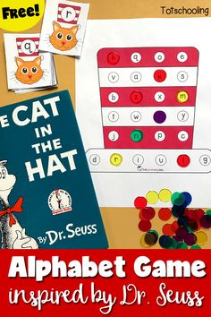 FREE Dr. Seuss inspired Alphabet Game book activity for The Cat in the Hat. Great preschool activity for letter recognition, includes both uppercase and lowercase letters.