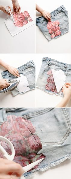 Easy Floral Photo Transfer DIY for Shorts. Diy Projects Christmas Gifts, Diy Crafts For Gifts, Photo Transfer To Wood, Foto Transfer, Photo Onto Wood, Picture On Wood, Diy Fashion Projects, Diy Craft Projects, Diy Photo