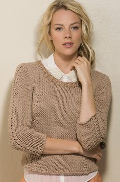 Ravelry: Highlights Pullover pattern by Rosemary Drysdale - purchased knitting pattern - taupe sleeve sweater Knitting Patterns Free, Knit Patterns, Free Knitting, Free Pattern, Knitting Pullover, Handgestrickte Pullover, Top Mode, Pulls, Knitwear