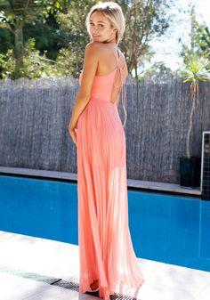 Accordion Prom Dress - Pink Orange   Lookbook Store