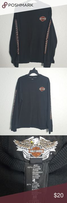 49e3e978b12b Harley Davidson Long Sleeve Black T Shirt Sz Large 29 inches in length 22  inches pit