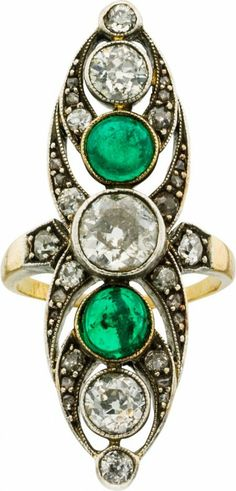 Diamond, Emerald, Silver-Topped Gold Ring.