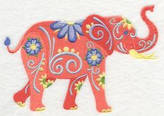 Flower Power Elephant Embroidered Waffle Weave Hand/Dish Towel IMPORTANT: If you do not specify a color for the TOWEL from the list below, a WHITE flour sack hand towel will be used! Dish Towel Embroidery, Embroidered Towels, Hand Embroidery, Elephant Design, Elephant Art, Free Machine Embroidery Designs, Embroidery Patterns, Lazy Daisy Stitch, Sewing