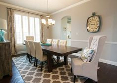 dining room - client space by A Thoughtful Place.love the rug, curtains and chairs A Thoughtful Place, Dining Room Inspiration, Design Inspiration, Design Ideas, Room Tour, New Homes, House Design, Living Room, Living Area