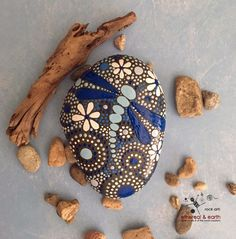 Painted Rock, Hand Painted Stone, Rock Art, Mandala Design, Dragonfly Motif…