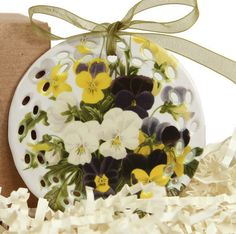 Bouquet of Pansies Ornament by Cowbelles on Etsy