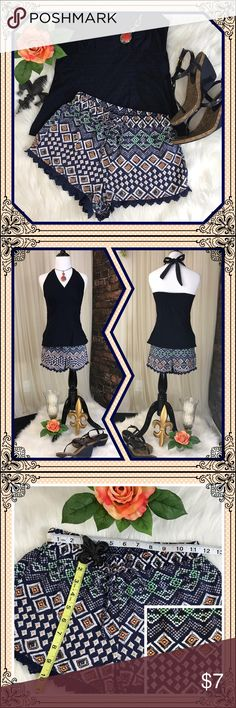 ⚜️Charlotte Russe shorts - size Small⚜️ Charlotte Russe flowy shorts; navy with green, orange and white pattern all over.  Easy care, super comfy, and so fun!  See pics for measurements/material/care.  Ask if you have any questions! ❣️Save even more by bundling❣️ Charlotte Russe Shorts
