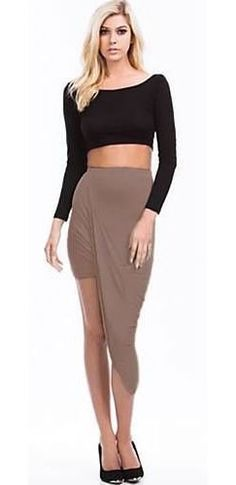Taupe Ruched Twisted Asymmetric High Low Hem Mini Maxi Skirt