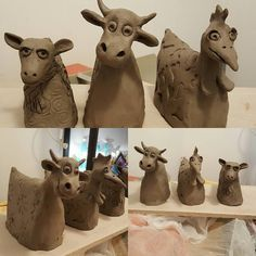 This guys are comming with me to a raku class. Hope they will dry til then… Pottery Animals, Ceramic Animals, Clay Animals, Ceramic Pottery, Pottery Art, Ceramic Art, Clay Projects, Clay Crafts, Kids Clay