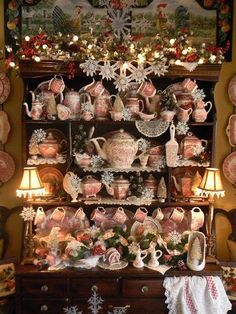 Nancy's Daily Dish: Christmas Hutch of Red Transferware and Book Winner Vintage Dishes, Vintage China, Christmas Tea, Vintage Christmas, Christmas Houses, Victorian Christmas, Country Christmas, White Christmas, China Display