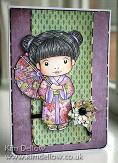 handmade card from La-La Land Crafts Blog: Kimono Marci ... colored pencil ... luv the dimensional look of her hair and the soft coloring of her face ... simple background doessn't detract from the image ... lotus blossom die cut flower ... sweet ...