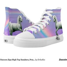 Unicorn Zipz High Top Sneakers, Printed Shoes ($96) ❤ liked on Polyvore featuring shoes, sneakers, rainbow footwear, rainbow sneakers, high top trainers, hi tops and zipz shoes