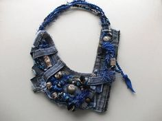 Asymmetric Jeans necklace... Recycled jeans necklace