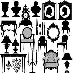 アンティーク家具のシルエット Silhouettes antique furniture イラスト素材