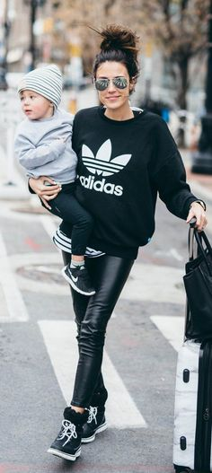 #winter #fashion / Printed Knit / Black Skinny Leather / Black Sneakers